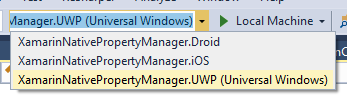 Screenshot of the Visual Studio toolbar, with UWP selected as the start-up project.