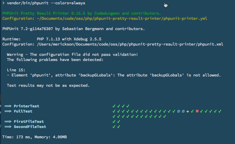 mikeerickson/phpunit-pretty-result-printer - расширение для вывода красивого результата выполнения PHPUnit