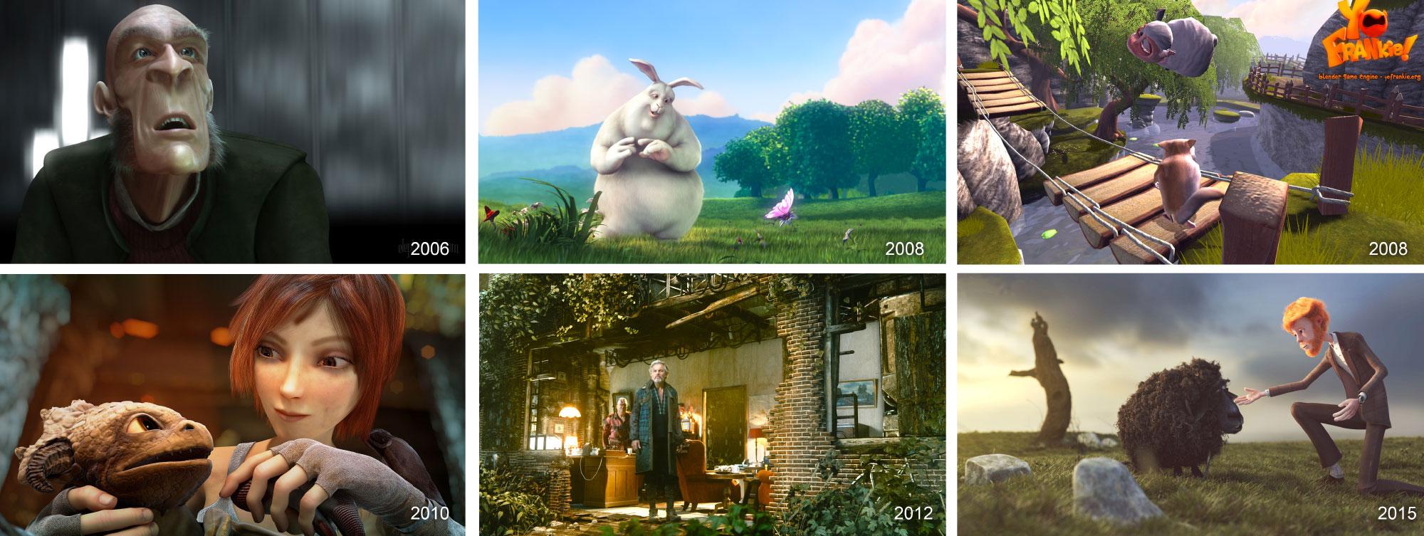 Top: Elephants Dream, Big Buck Bunny, Yo, Frankie!, Bottom:  Sintel, Tears of Steel, Cosmos Laundromat
