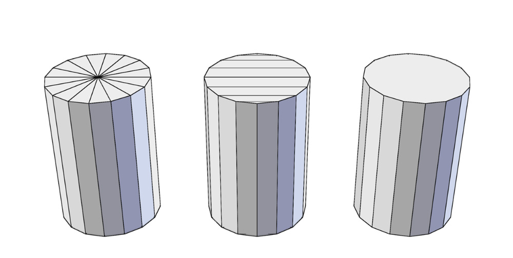 The same cylinder cap can be made up of triangles, quads, or an n-gon.