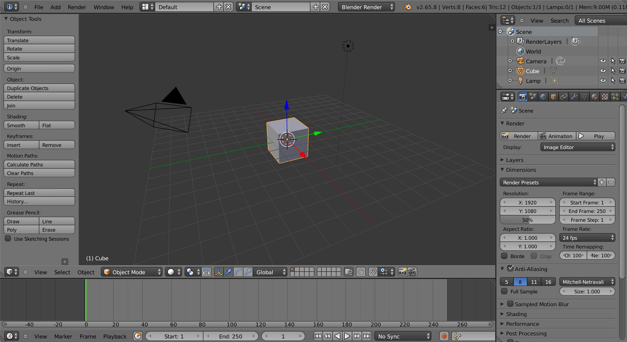 Blender default workspace.