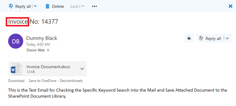 Email with Invoice keyword into the Mail
