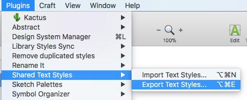 Export text styles