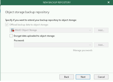 Adding Object Storage to VBO Backup Repository