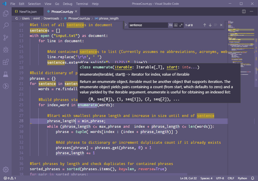 screenshot of basic editor functions