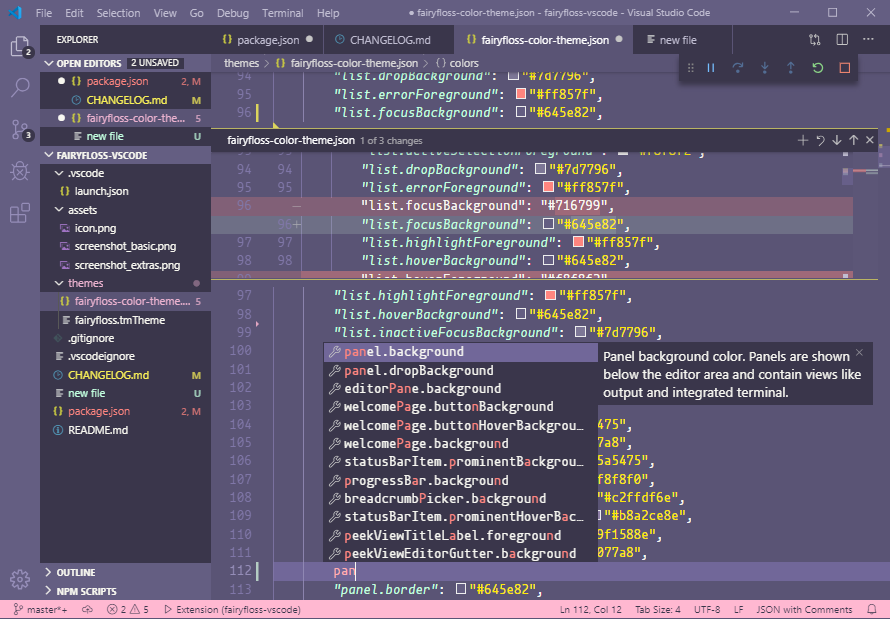 screenshot of extra theme support
