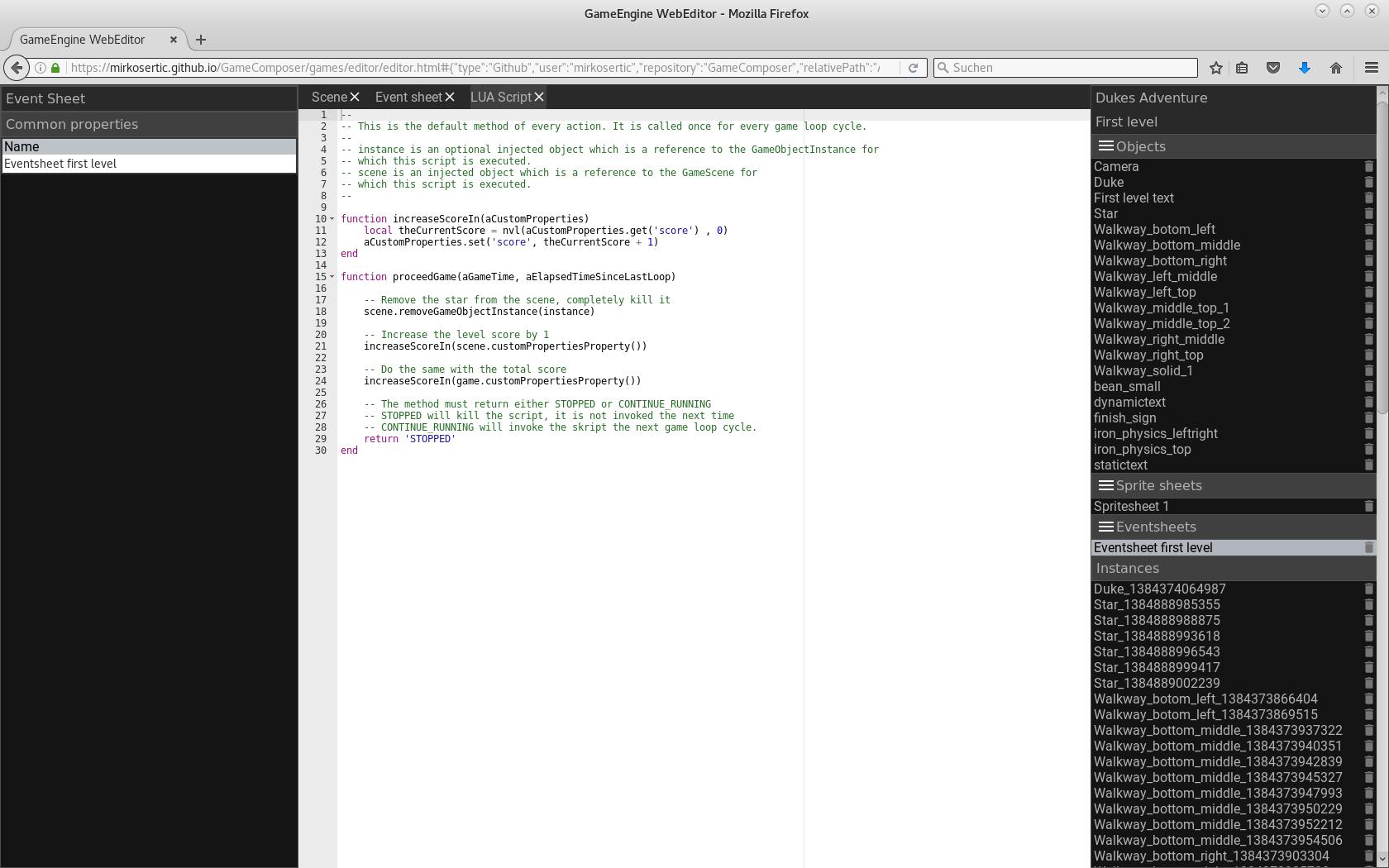 Webeditor editing a LUA script