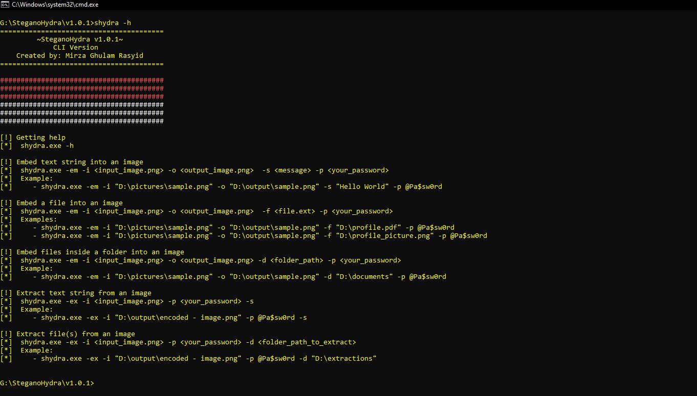 GitHub - mirzaevolution/SHydra Console: Steganography