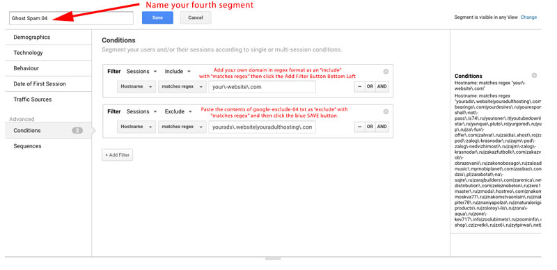 Google Analytics - Adding Segments to Stop Ghost Spam