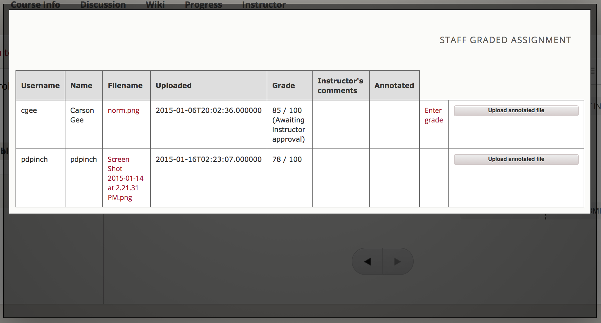 Detail of Staff Member view of grading grid after a submission has been graded and it is awaiting approval.