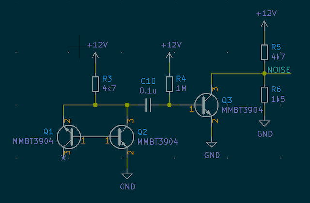 Electronic schematic showing three transistors connected in a way that produces random noise