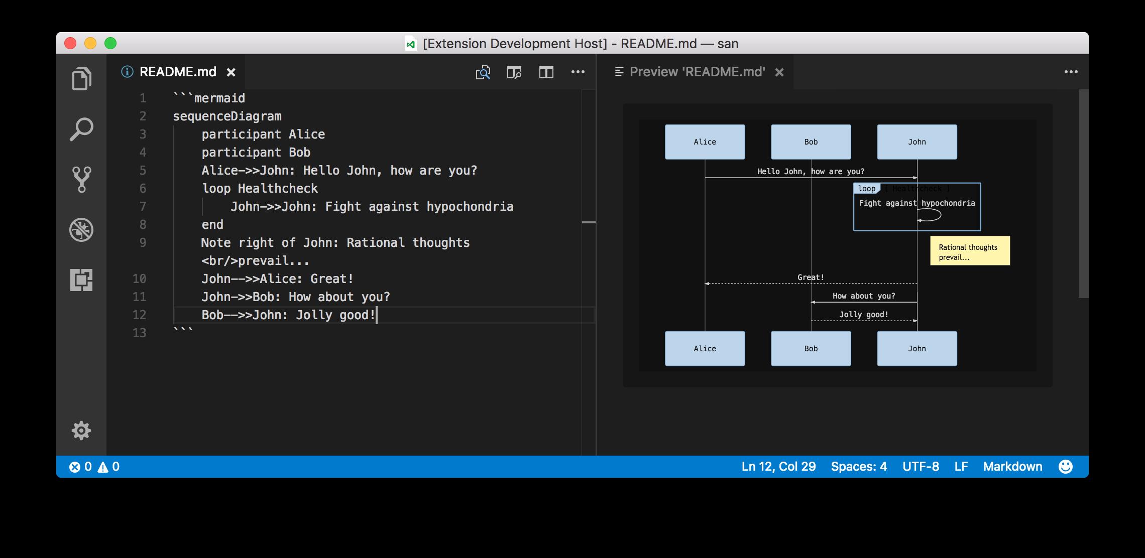 A mermaid diagram in VS Code's built-in markdown preview