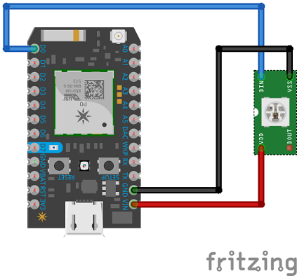 Fritzing diagram of Photon NeoPixel connections