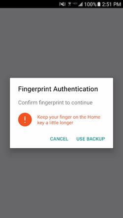 Fingerprint Auth Dialog No Backup