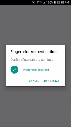 Fingerprint Auth Dialog Success