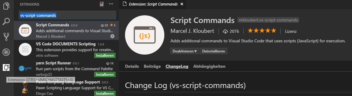 Screenshot VSCode Extension search