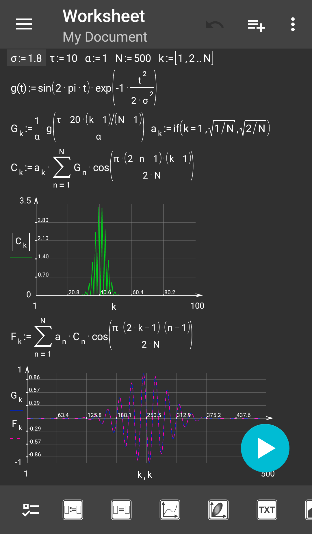 Example of a function plot