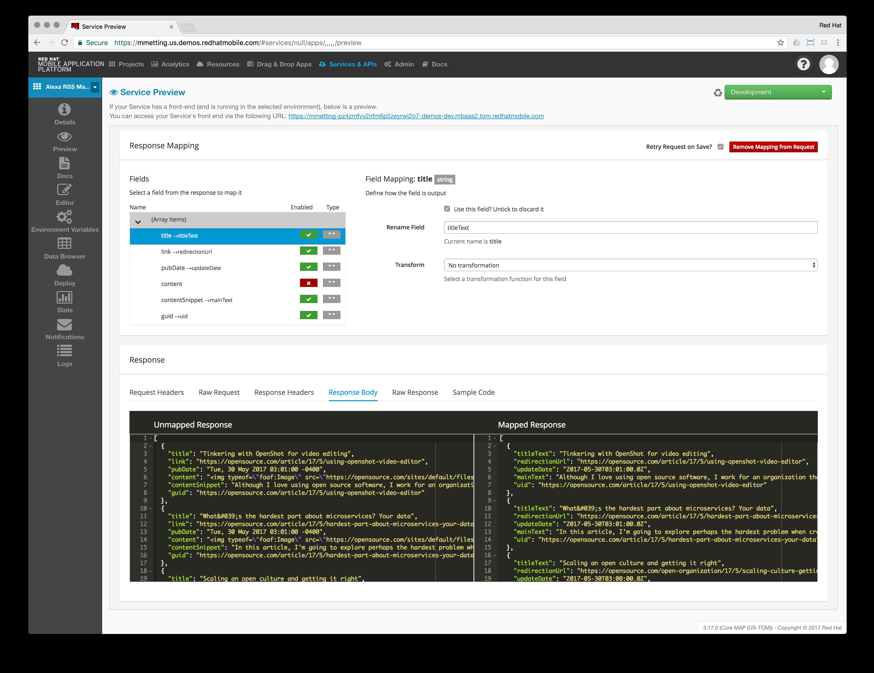 Alexa RSS Mapping Service