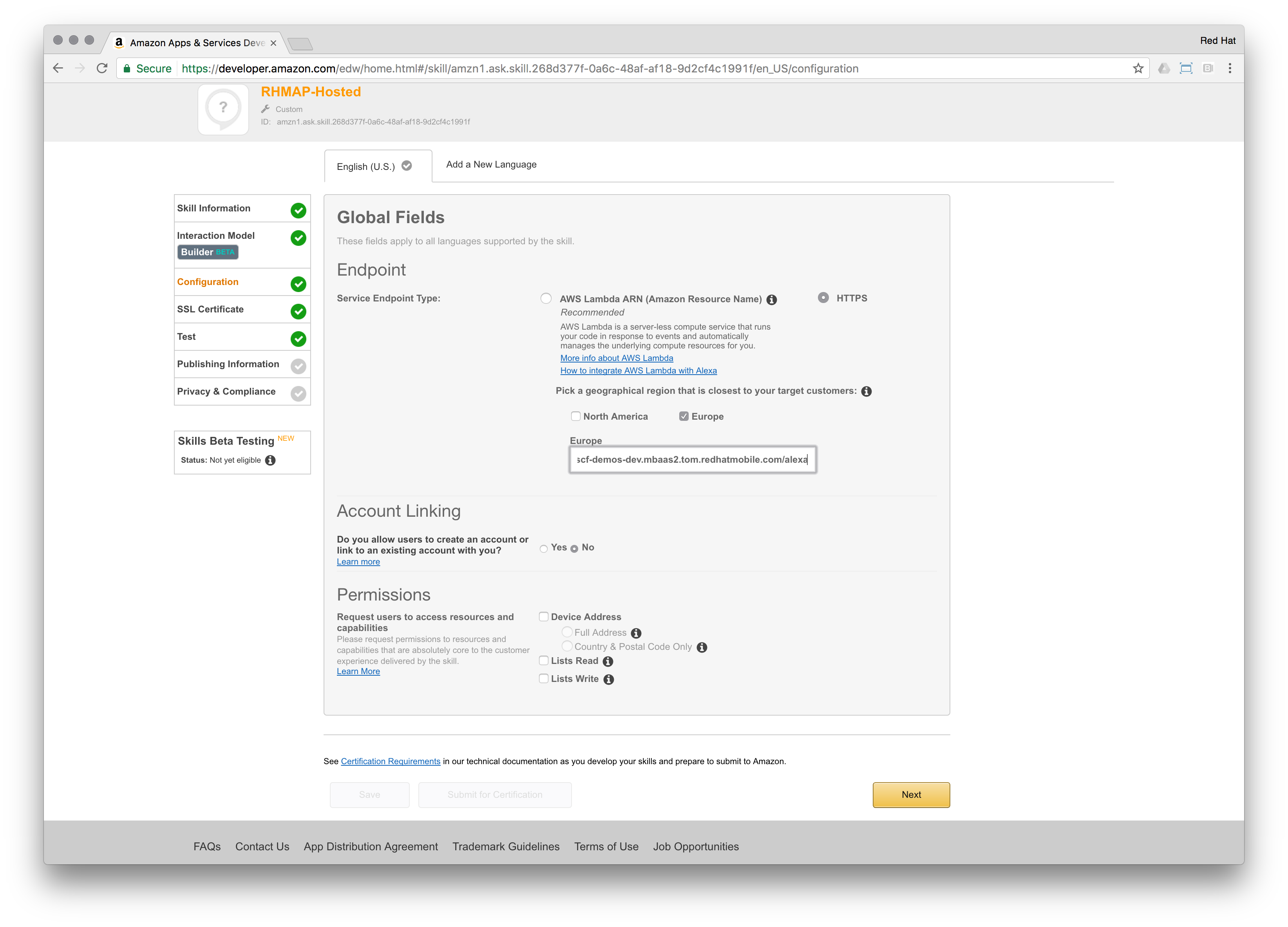 Connecting to RHMAP via AWS Lambda