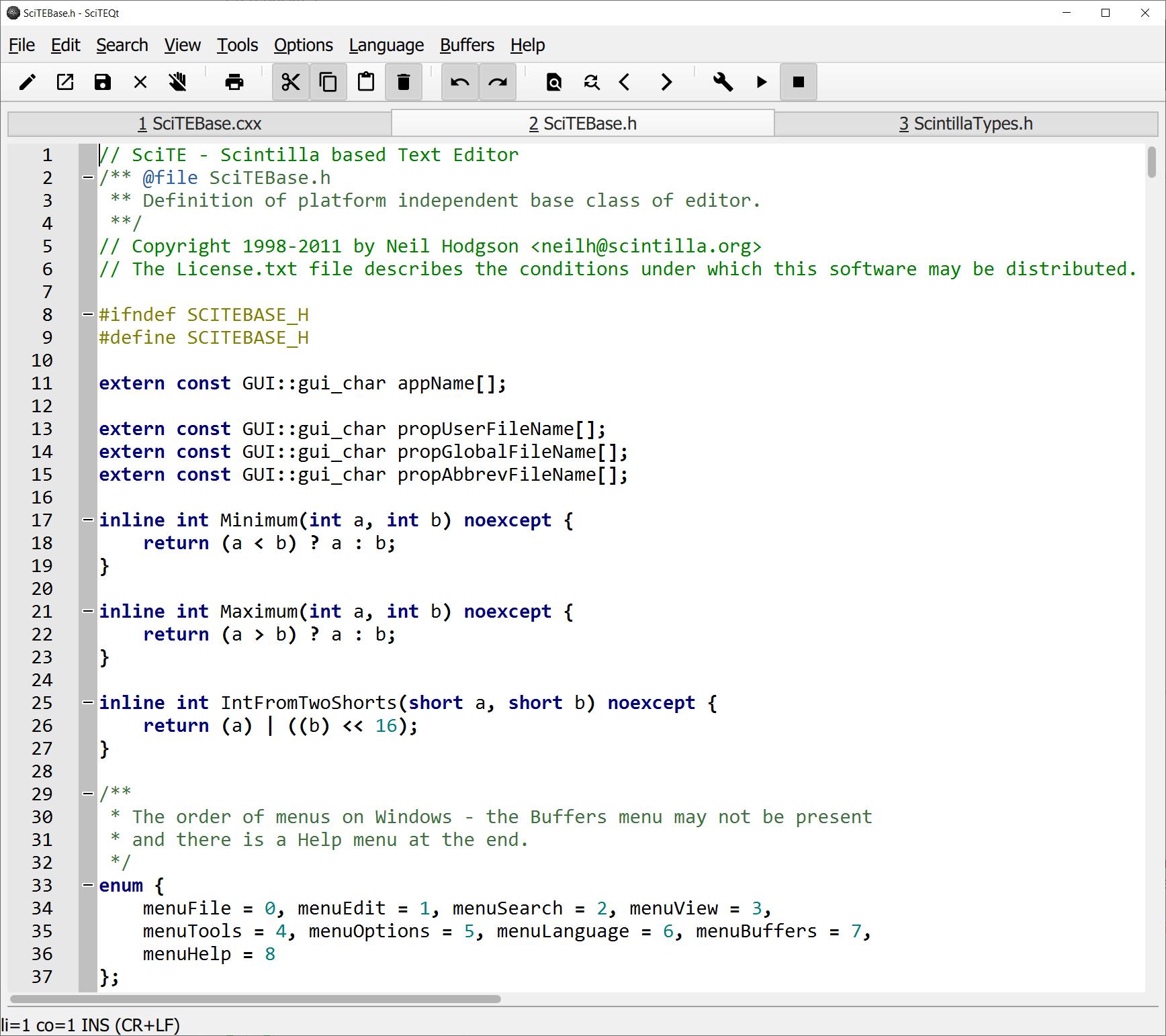 SciTEQt screenshot