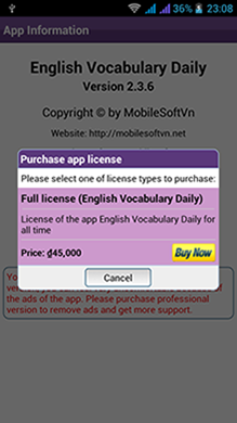 http://mobilesoftvn.net - English Vocabulary - TOEIC Vocabulary - English Vocabulary Daily - TOEIC Vocabulary Daily - User interface