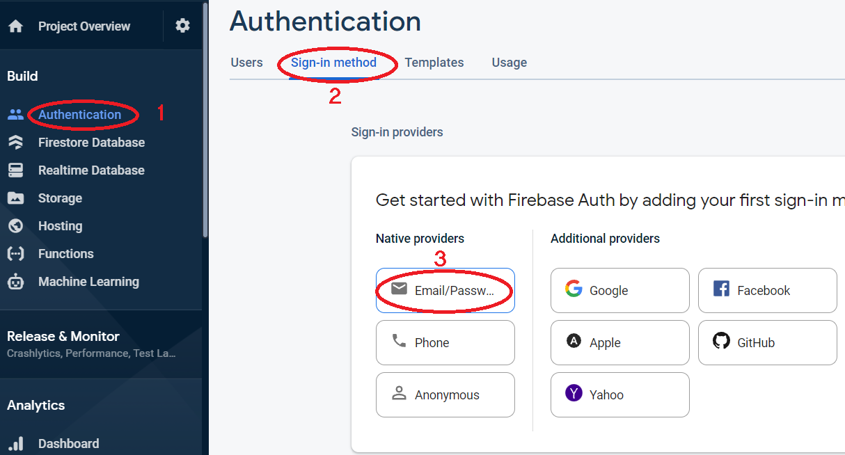 Enable Email/Password Sign-in provider