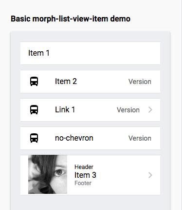 IOS morph-list-view-item demo