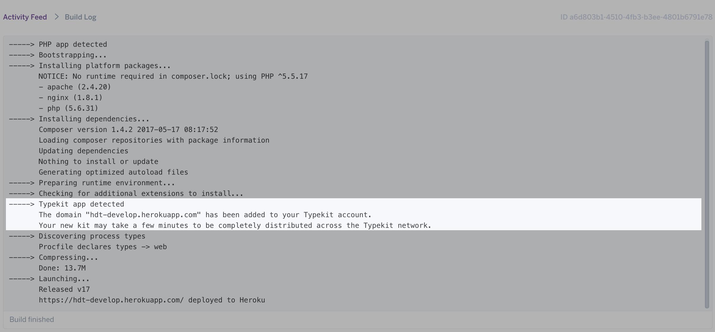 Heroku Typekit Domain Added