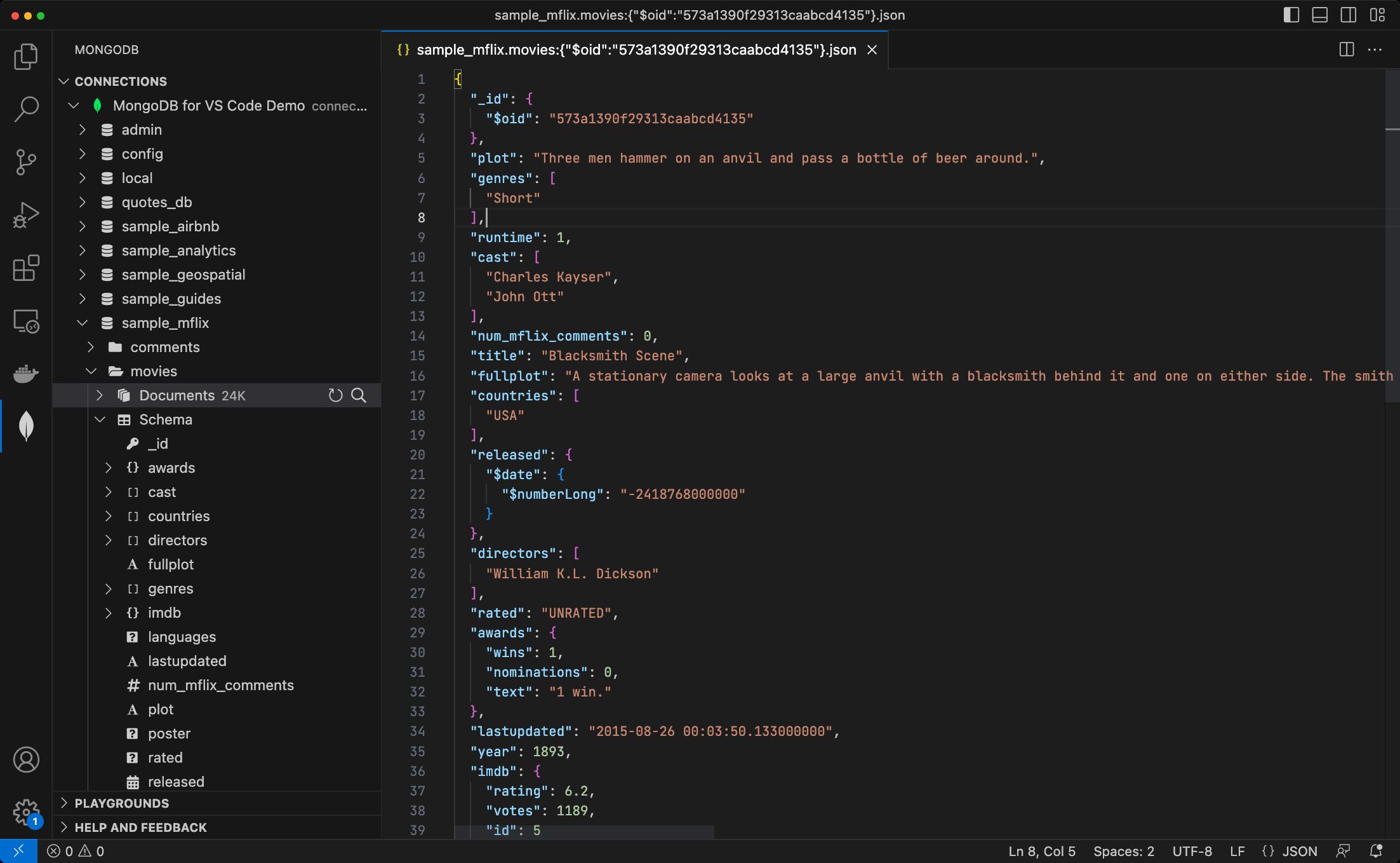 Explore data with MongoDB for VS Code