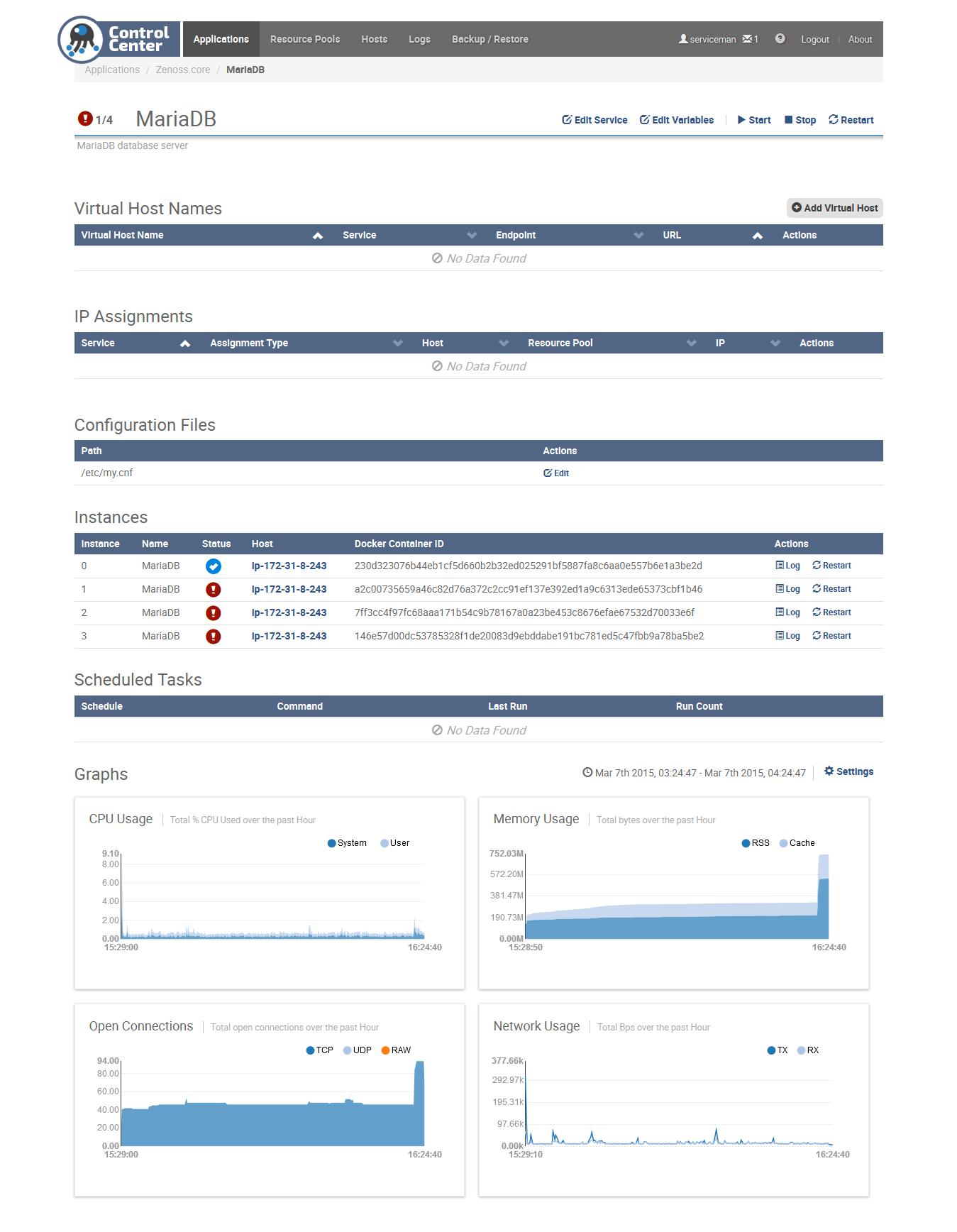 Zenoss 5 Core - 4 instances of MariaDB in Control Center