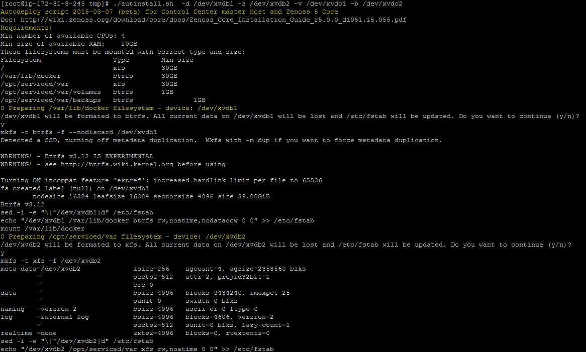 Zenoss 5 Core - start of autodeployement