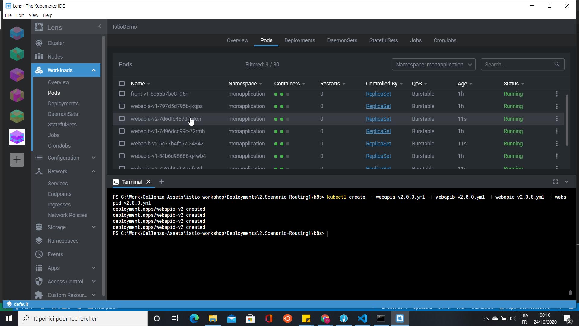 Lens Kubernetes IDE WebAPI deployement