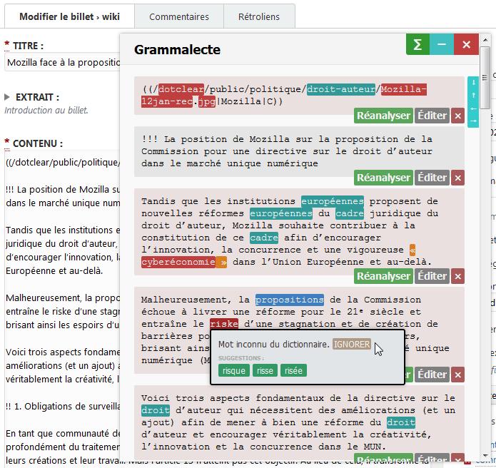 L'extension Grammalecte dans Firefox