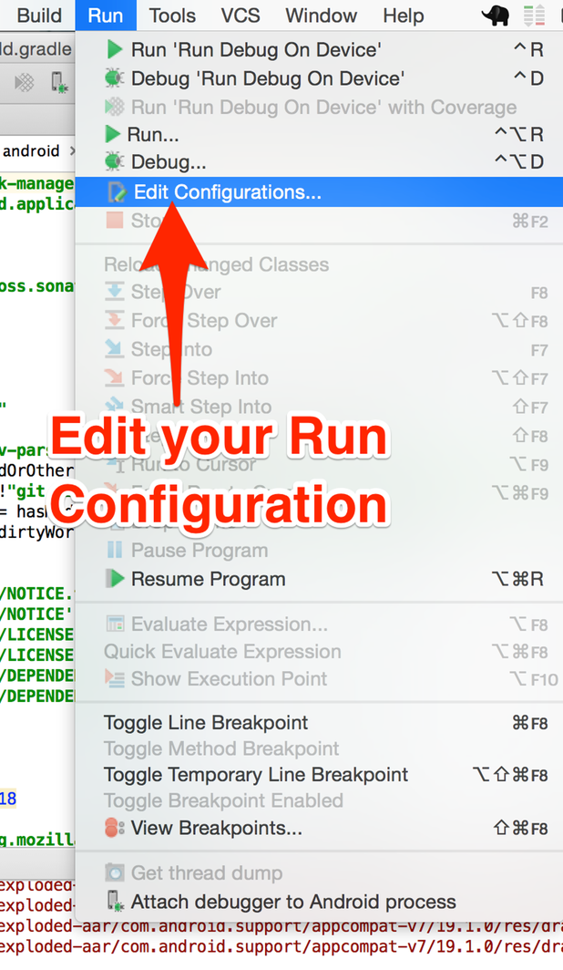 Edit run configuration