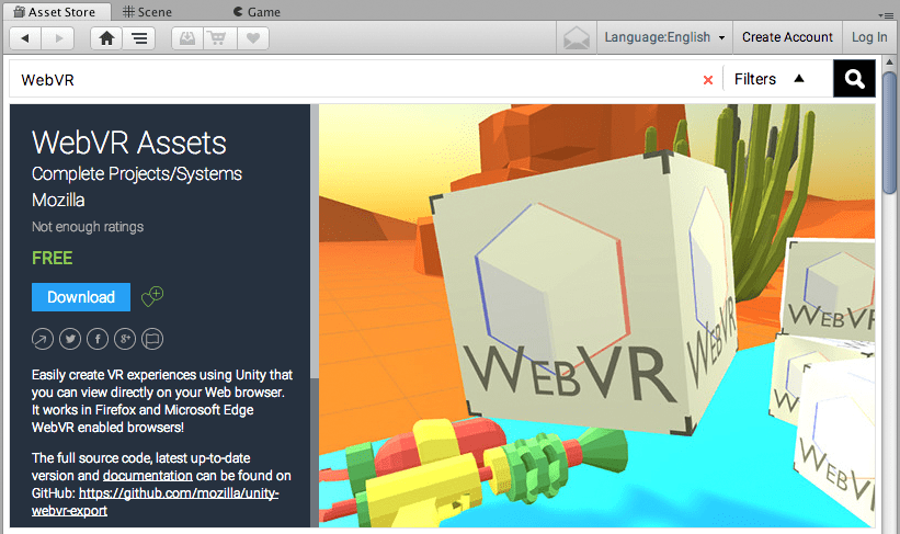 Download the WebVR Assets package for free on the Unity Asset Store