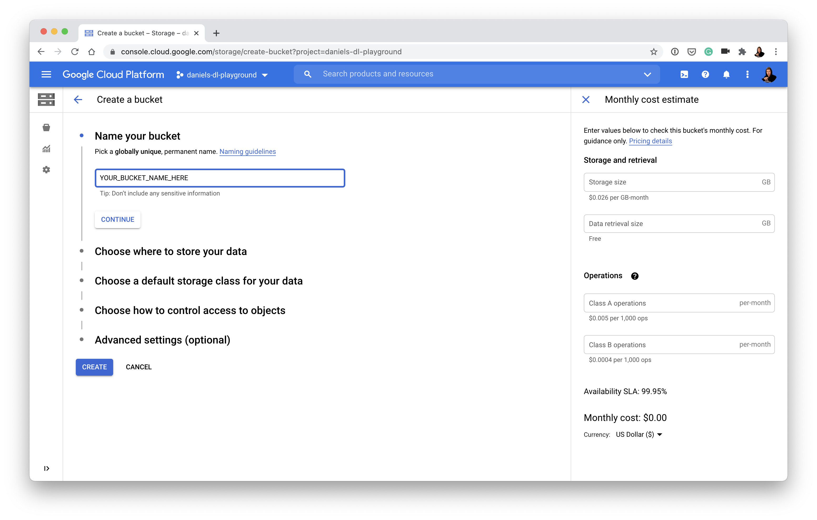 creating a bucket on google cloud