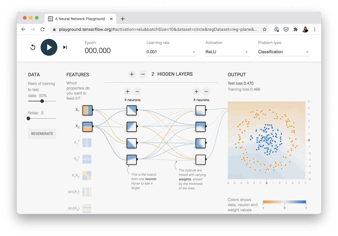 multi-layer neural net created with TensorFlow playground