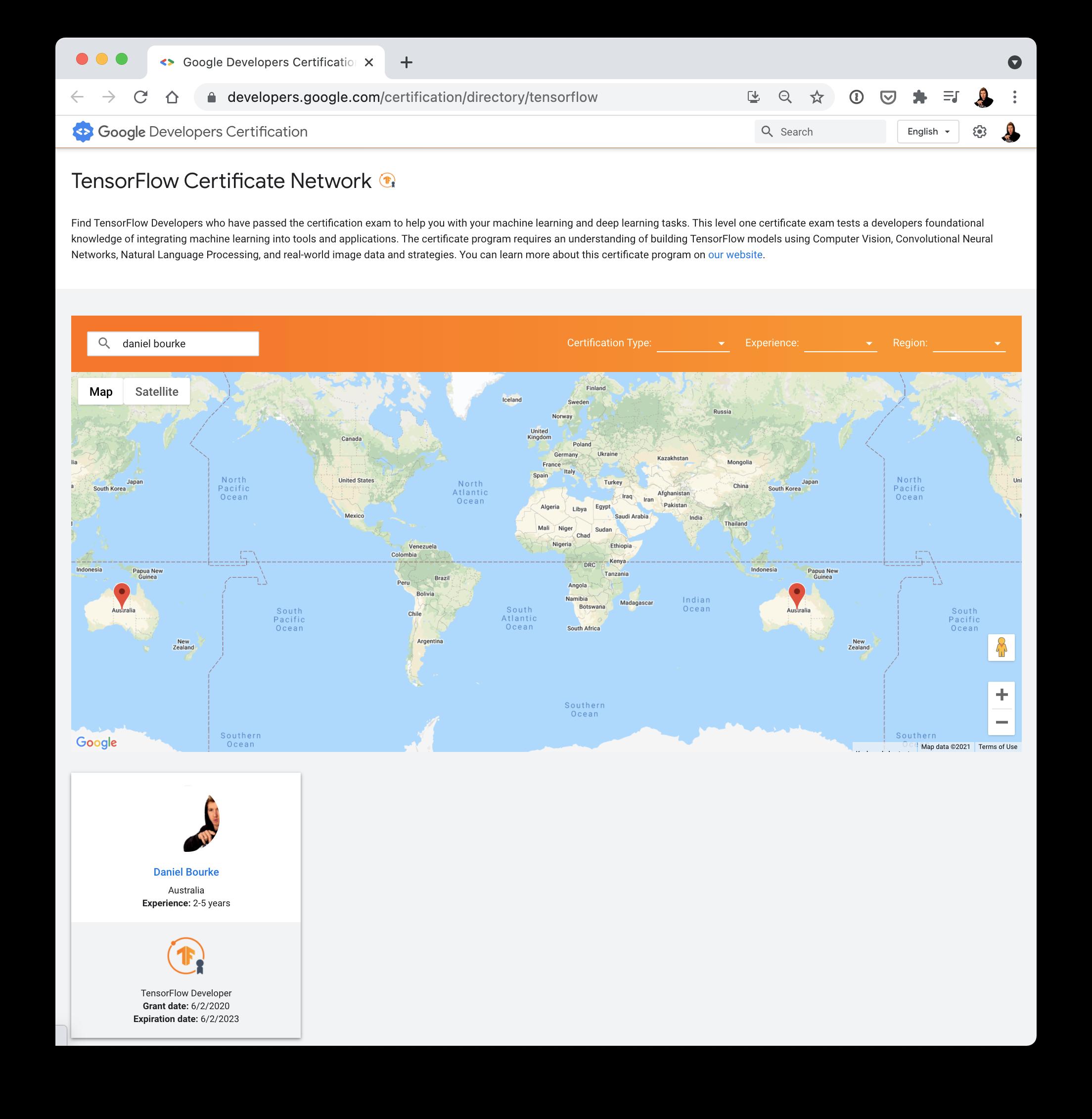 TensorFlow Certificate Network