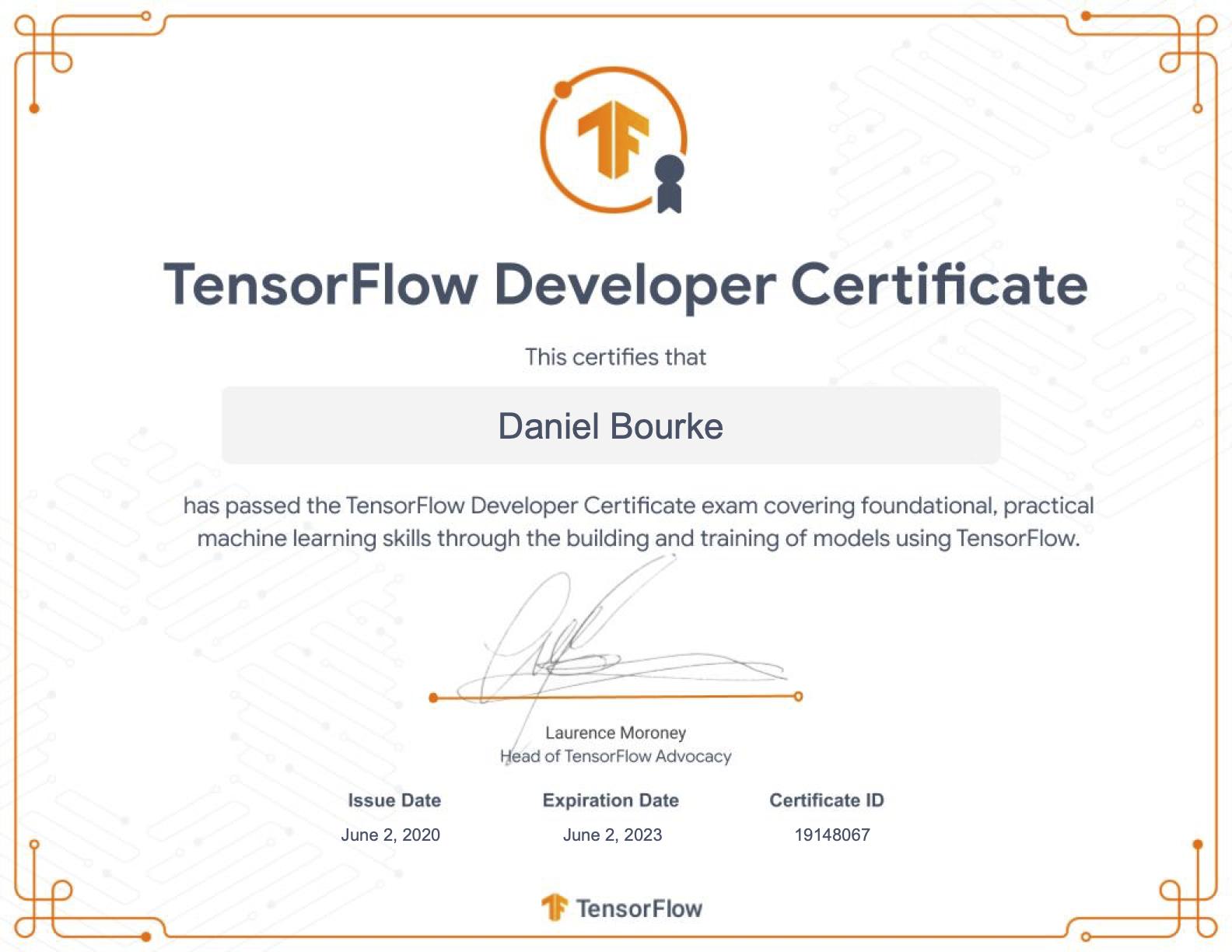 Daniel Bourke's TensorFlow Developer certification