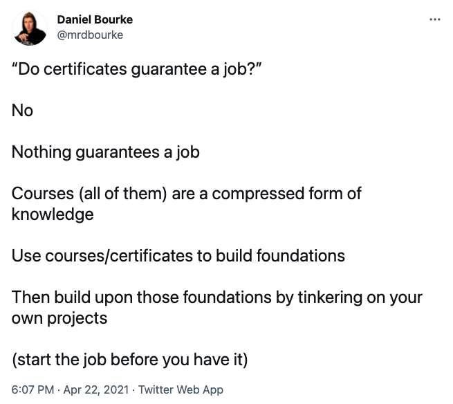 do certificates guarantee a job tweet