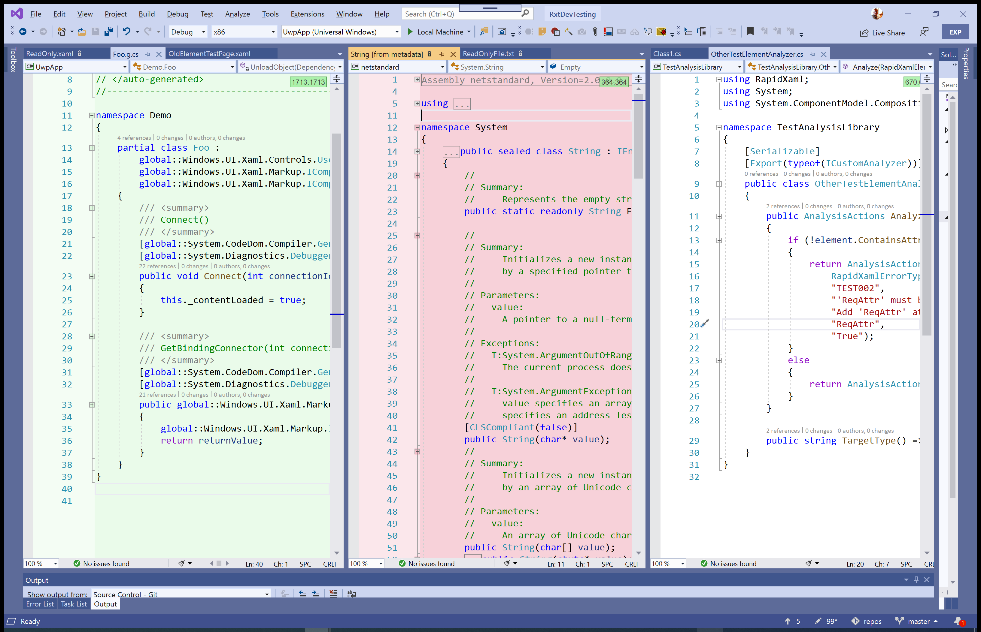 Example of the backgrounds set on different editor windows