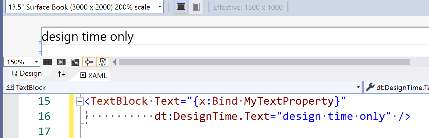 partial screenshot of the Visual Studio XAML editor and designer showing the above described functionality