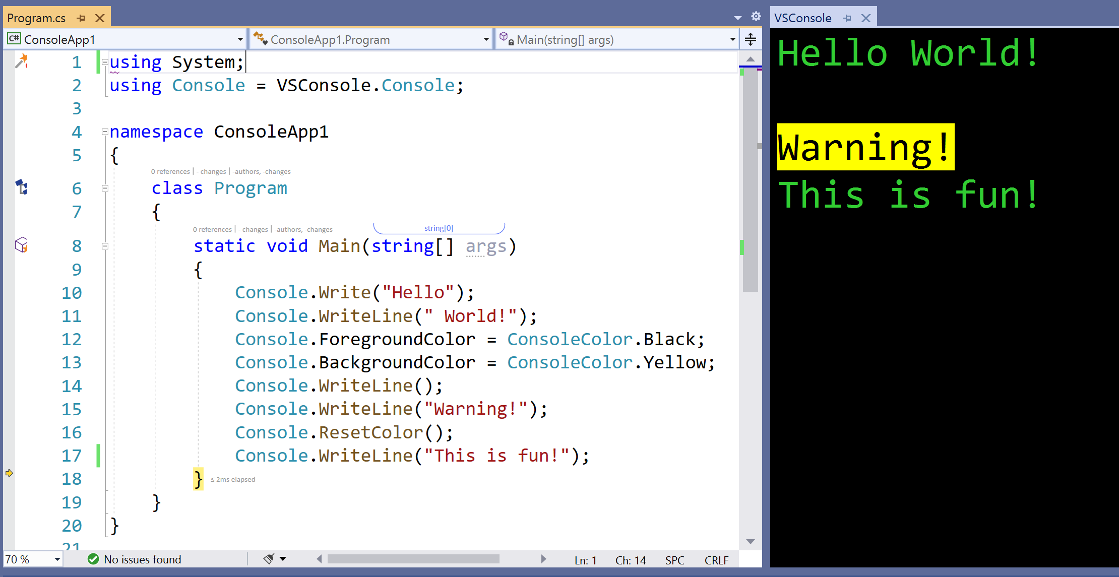 Screenshot showing example output in the VSConsole window inside Visual Studio