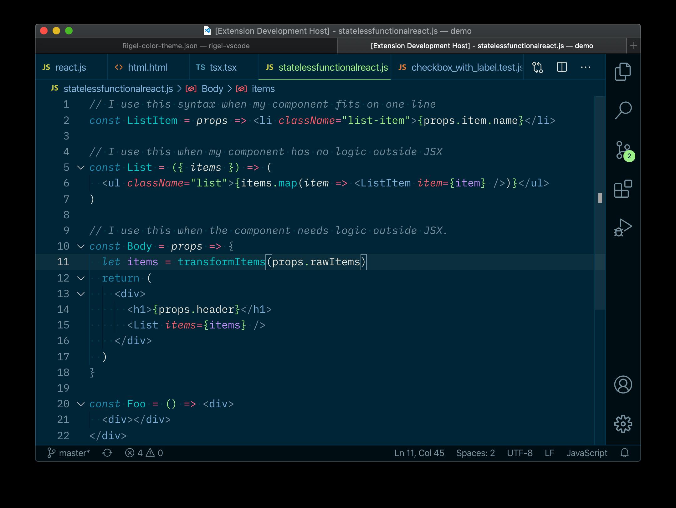 Screenshot of the Rigel VS Code theme