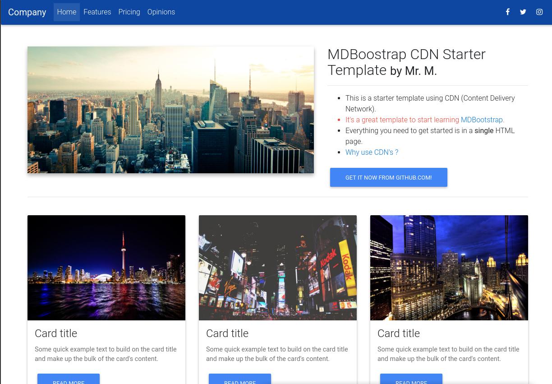 MDBoostrap CDN Starter Template - Material Design for Bootstrap