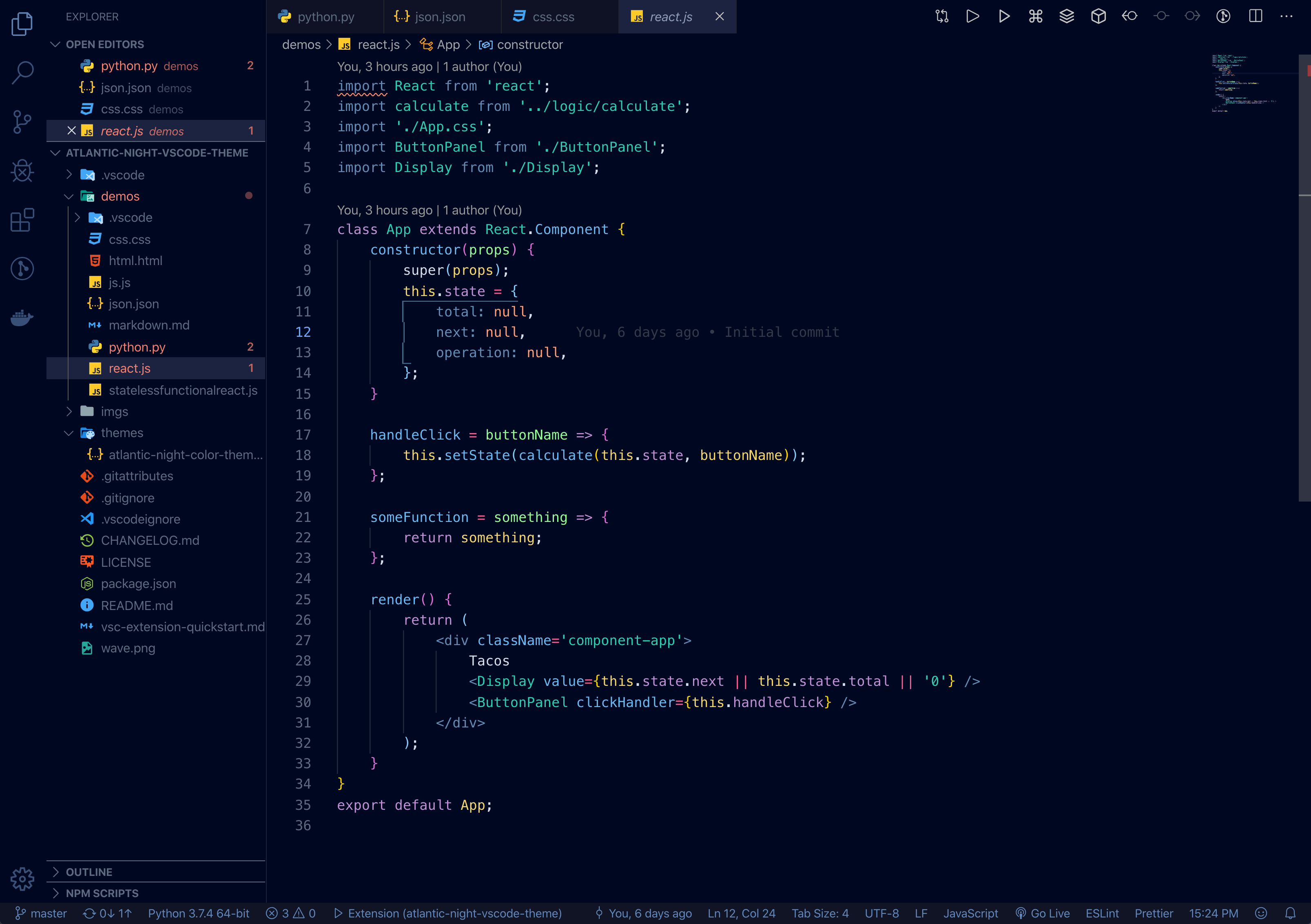 Atlantic Night VS Code theme