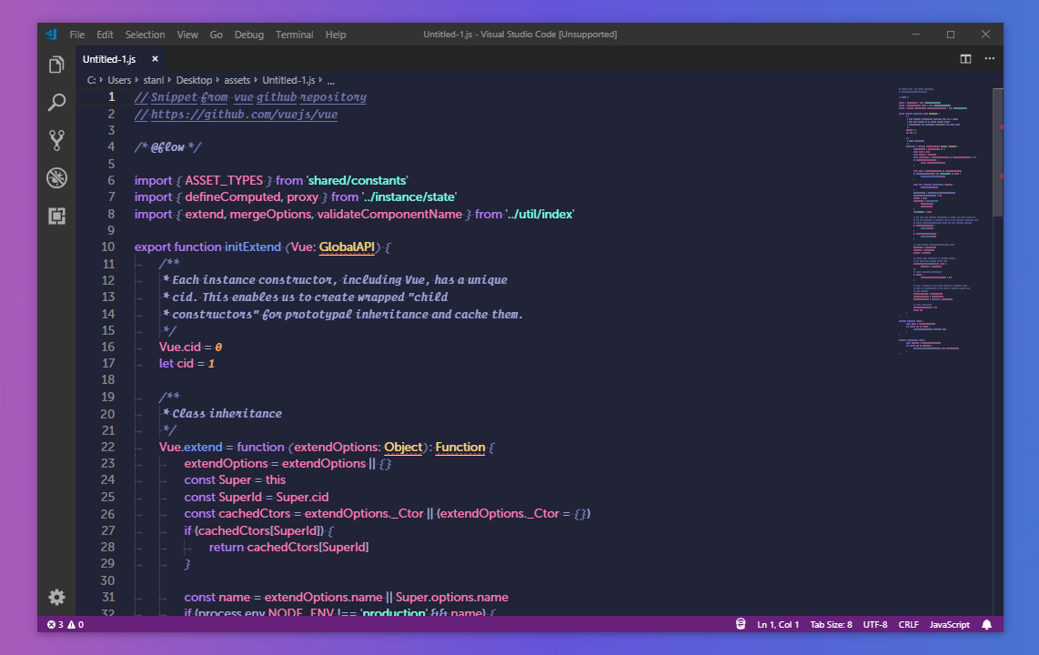 Screenshot of JavaScript