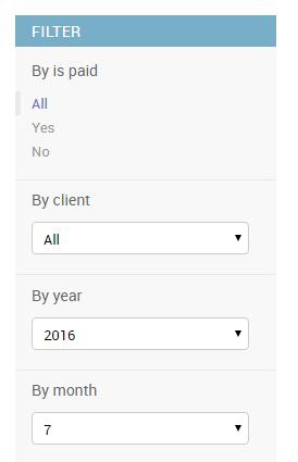 Screenshot of dropdown list filter