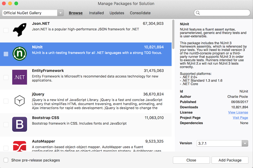 Manage Packages dialog