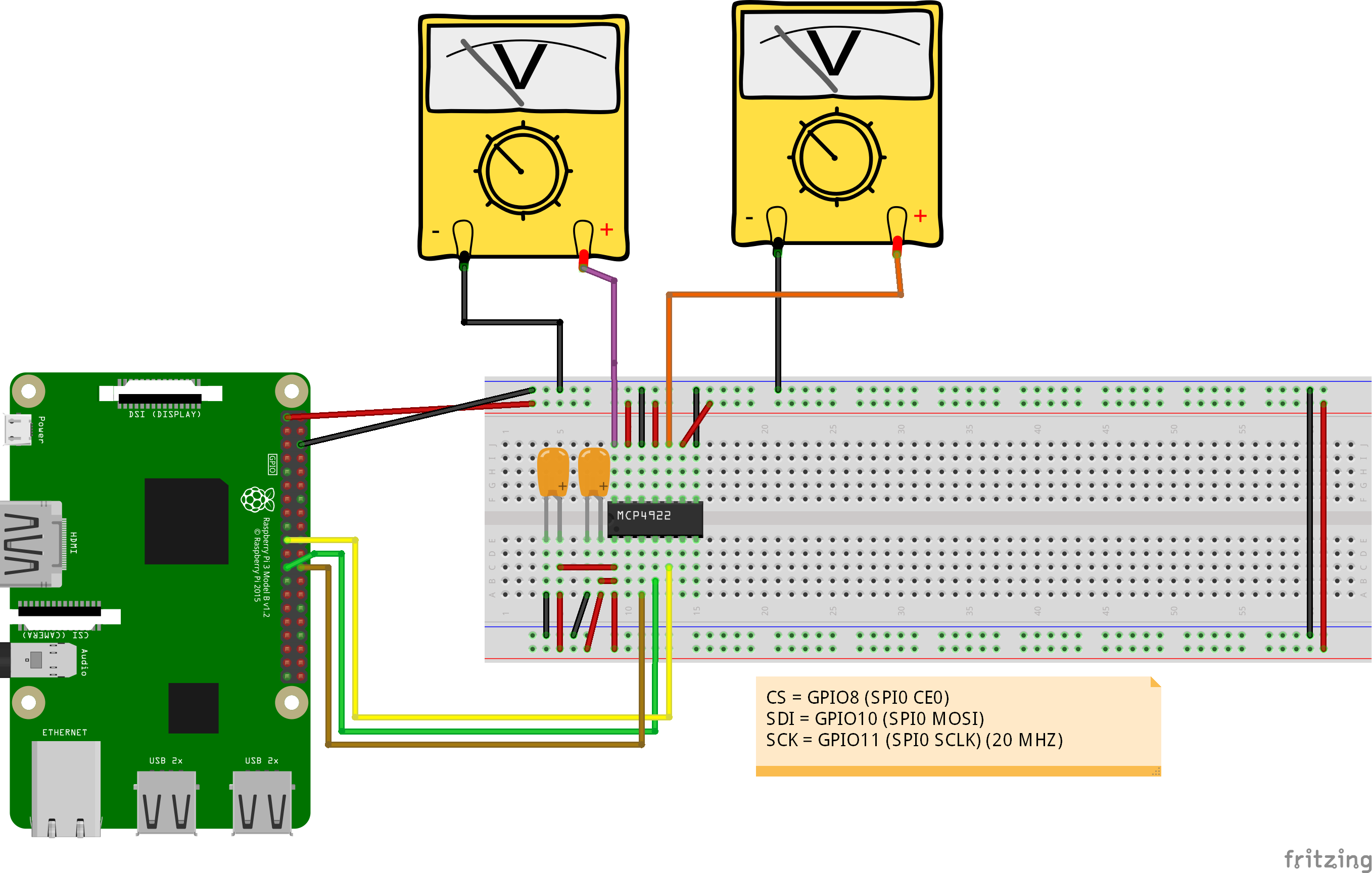 MCP4922 Breadboard Example